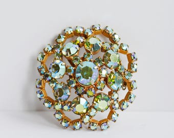 Gorgeous 1960's Aurora Borealis Brooch in Blues and Greens Unsigned