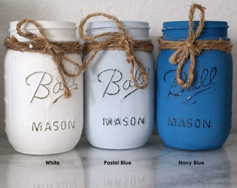 Home Decor - Dorm Decor - Painted Mason Jar - Vase - Wedding - Rustic Home Decor