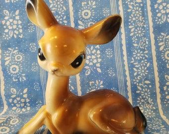 Bright big eyed doe- kitschy deer- plastic fawn