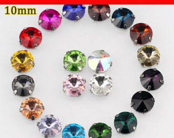 10mm 20pcs/pack round shape crystal sew on rhinestone with claw Wedding handmade materials