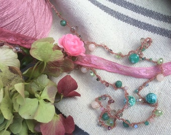 Crochet necklace and stones