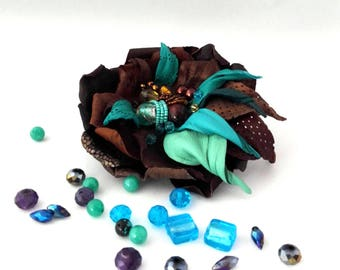 flowers brooch Turquoise brooch  Brown Leather flower brooch Flower jewelry Leather brooch Flower pin Fashion  Gift for women Poppy brooch