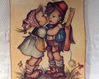 Hummel Evans frame - image on wood - couple of kids - wall decoration in wood - childhood memory / / made in the United States