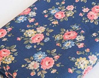 Vintage Retro Cotton Duck Canvas Fabric Cath Kidston Pink Flowers on Navy Blue Per Half Meter