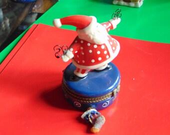 Santa Claus Trinket Box with a Christmas stocking trinket