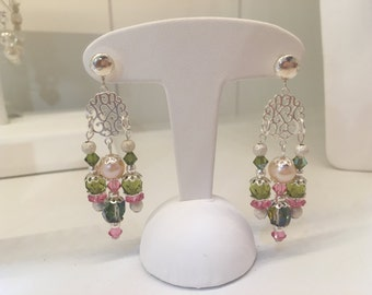 Earrings pink green silver earrings with Silver 925 beads pink green