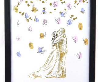Personalised Bride and groom thumb print Gold Foil confetti Wedding Guest Book Alternative, Wedding Guestbook