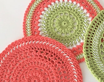 Colorful crochet doilies  Round Doilies Gift for her Housewarming gift  Mother day Home decor