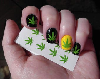Pot leaf nail art etsy pot leaf nail decals 420 prinsesfo Gallery