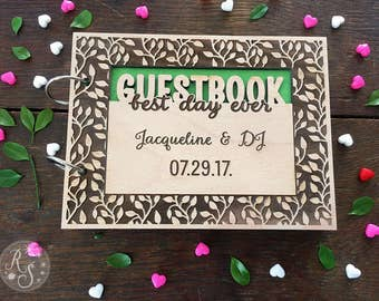 Forest Woodland Wedding Guestbook, Green Woodsy Bridal Shower Guestbook, Best day ever guest book,