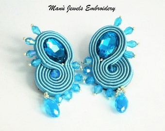 soutache earrings aqua  jewels, Soutache Jewerly, fashion, Soutache Jewels, accessories, cabochon, crystals, beads, handmade from Italy
