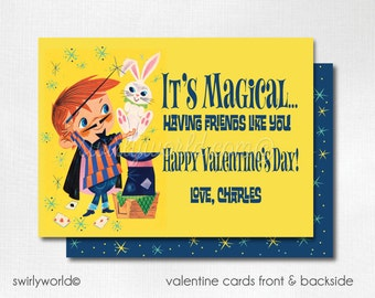 1950s Vintage Magic Valentine's Day Cards, Magician Valentine Cards, Boys Printed Valentine Card, Classroom Valentine Cards,  DI-VAL94