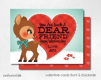 Woodland Deer Valentine Cards, Digital Printable Dear Friend Valentine Cards, Digital Valentine Cards, Retro Deer Valentine DIVAL56