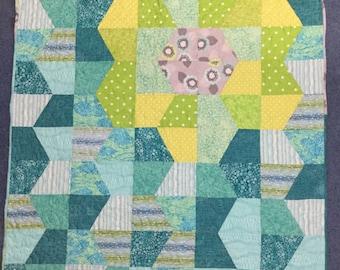 """Hidden Flower Baby Quilt 37"""" X 43"""" Blue Aqua Green Lime Gray Girl Handmade Cotton"""