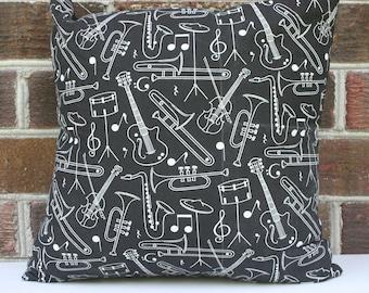 Black Orchestra Instruments Pillow-16x16