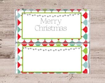Argyle Print Chocolate Bar Wrapper-Chocolate Bar Wrapper-Candy Bar Wrapper-Personalized Chocolate Bar-Customized Candy Bar-Christmas Candy