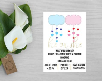 Blue and Pink Gender Reveal Invitation-Pink and Blue Baby Shower Invitation-Clouds Gender Reveal Invitation-He or She Party Invitation