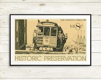 vintage San Francisco posters, San Francisco wall art, San Francisco wall decor, San Francisco cable car, postage stamp art prints, US stamp