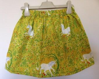 Pretty Vintage Style Girls Skirt with Unicorns