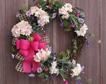Summer Wreath, Spring Wreath, Hydrangea Wreath, Rustic Grapevine Wreath, Rustic Wildflower Wreath, Front Door Wreath, Housewarming Gift