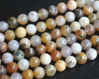 Natural Bamboo Agate beads 6mm 8mm 10mm 12mm Round Agate Beads,15 inches 1 strand