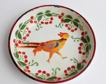 Enamel Bowl/Pheasant/Vintage Enamel Bowl/Vintage Enamelware/Farmhouse Decoration/Shabby Chic Kitchen Decor/Enamel Dish