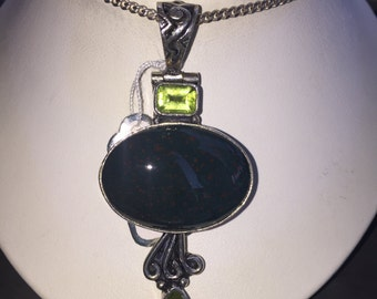 Bloodstone and peridot pendant in silver
