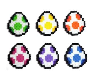 Super Mario Yoshi Egg Keychains, Perler Bead, Pixel Art