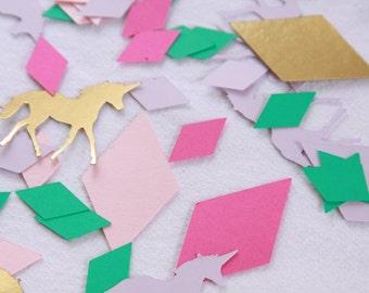 Unicorn Confetti, Gem, Unicorn Bachelorette,  Unicorn Party Supplies, Geometric Confetti, Teal Pink Gold and Lavender, Kids Birthday Party