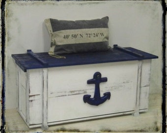 Large maritime chest, vintage-style, Shabby Chic