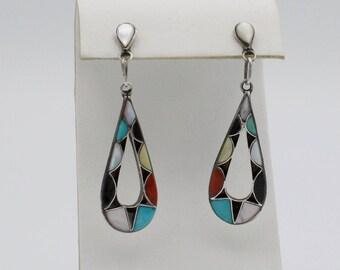 Multi color Zuni Inlay Earrings