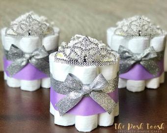 Princess Diaper Cake, Baby Shower Decoration Centerpiece Gift, Little Princess Purple Lavender Silver Tiara Crown, ONE 1 Tier mini