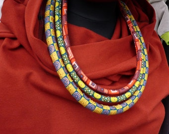 African Necklace; African Print; Multistrand Necklace; African Jewelry; Ankara Necklace, Rope Neckwear; Yellow fabric necklace; Cadeau; Gift