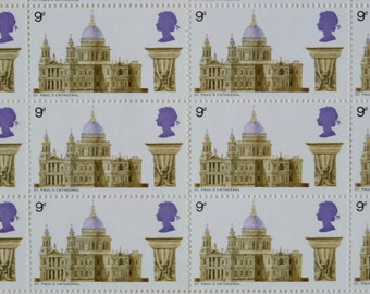 Framed 1969 St Pauls Cathedral GB stamps - full sheet of 120 9d stamps