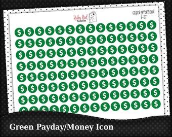 Green Money Icon Stickers - Payday Stickers - Reminder Stickers - Planner Stickers - Mini Stickers - Erin Condren Planner Stickers - F-117