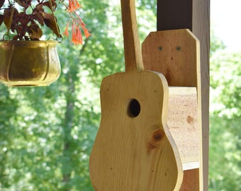Handmade Rustic Outdoor Pine & Cedar Birdhouse Acoustic Guitar with BackMount  Music Lovers and Songbirds