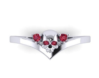 Skull Midi Ring in STERLING SILVER with four lab created swarovski gemstones