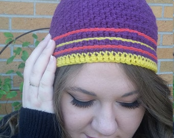 Striped Beanie With Bobble