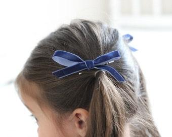 Royal Blue Petit Velvet Ribbon Bow