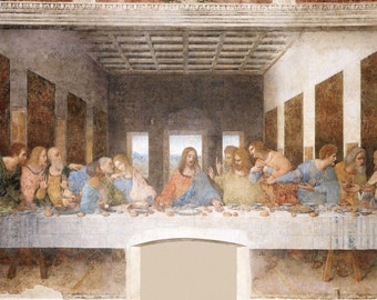 Leonardo da Vinci : The Last Supper (1495–1498) Canvas Gallery Wrapped Wall Art Print
