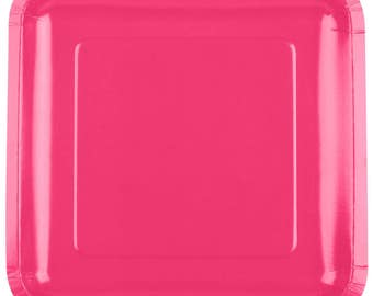 "25 (7"") Hot Pink Square Paper Plate, Wedding Supplies, Wedding, Wedding Decor, Party Supplies, Party, Paper Plate, Wedding"