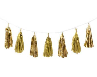 Assorted Colors Foil Tassels Garland, Party Decor, Party Supplies, Decor, Decorations, Tassels, Paper Garlands, Tissue Paper Tassels