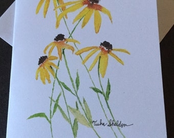 Coneflower Watercolor Note Card