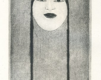 "original etching ""Mask Japanese"""