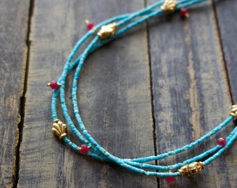 Handmade, Genuine Turquoise, Ruby, with Gold Plated Sterling Siver