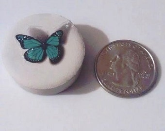cement  brooch with butterfly