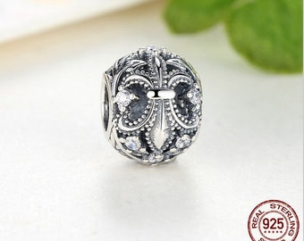 FLEUR-DE-LIS Bead Charm, 100% Real 925 Sterling Silver, Fits Pandora, Famous European Snake Chain Charm Bracelet, DiY Jewelry