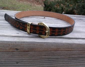 Hand Tooled Leather Belt Design 1