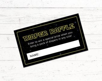 Star Wars Baby Shower Diaper Raffle Ticket, Star Wars Printable Diaper Raffle Ticket, Digital Download