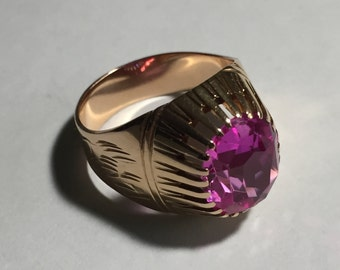 Russian rose- gold 583 (14k) Pink Corundum (lab created) ring Size US 7.75 c. late 1970s (USSR)